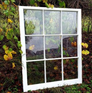 Vintage Sash Antique Wood Window Picture Frame Pinterest Wedding 9 Pane 40x32 photo