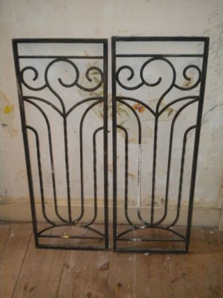 Vintage French Wrought Iron Door Grills Art Deco Pair 1930s 91 X 33 Cms photo