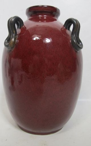 Antique Art Deco Early 1900 ' S Red Oxblood Flambe Ceramic Vase/lamp Drilled Yqz photo