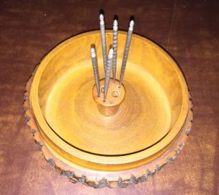 Vintage Rustic Tree Bark Wooden Nut Bowl With 5 Picks photo
