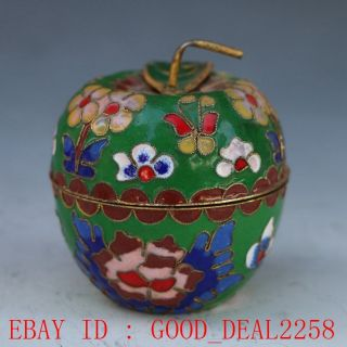 Fine Cloisonne Collectable Handwork Carved Flower Apple Storage Pot Ornament photo