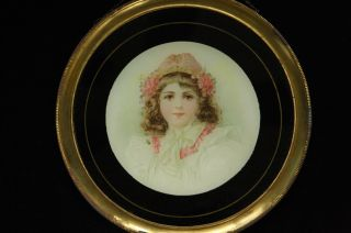 Vintage Victorian Flue Cover Young Girl Child With Cap & Pink Flowers In Hair photo
