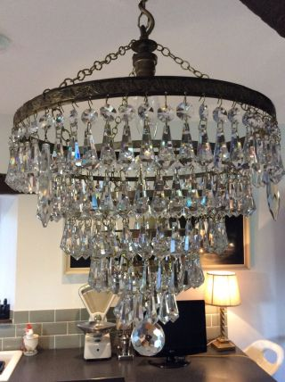 Vintage Large 5 Tier Waterfall Crystal Chandelier With Chain And Rose photo