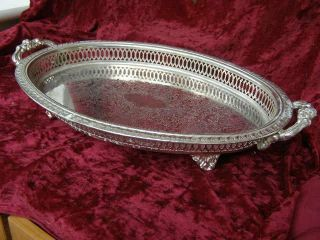 Vintage English Oval Silver Plated Serving Tray Card Tray Tea Tray Drinks Tray photo