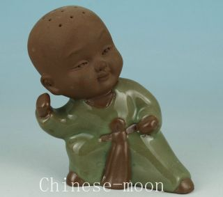 Chinese Old Jingdezhen Porcelain Hand Painting Little Monk Statue Collectables photo