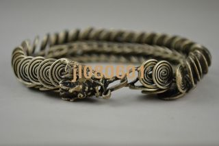 Collectible China Handwork Tibet Silver Carving Dragon Bracelet photo