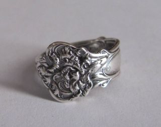Sterling Silver Spoon Ring - Wallace / Carnation - Size 8 (7 To 9) - C.  1908 photo
