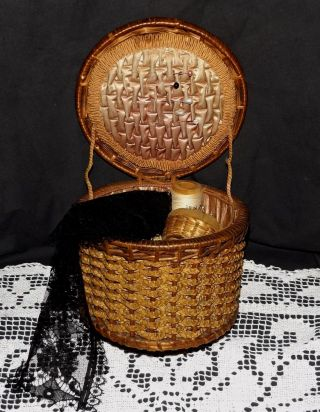 Antique Victorian To 1920s Silk Lined Vintage Woven Sewing Basket & Accessories photo