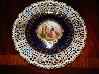 Antique Hand Painted Reticulated Meissen Cabinet Plate With Gilded Cartouche photo