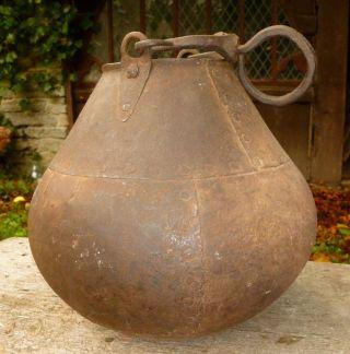 1700 ' S Antique Iron Cooking Pot Colonial Settler Kitchen Kettle Cauldron Bucket photo