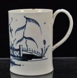18th Century English Chinoiserie Creamware Blue Hand Painted Mug photo