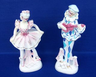 Harliquin Figurines Ballerina And Court Jester By (royal Elegance Japan) photo