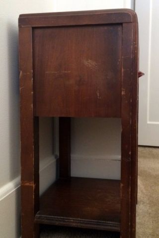 Vintage Art Deco Wood Waterfall Nightstand End Table photo