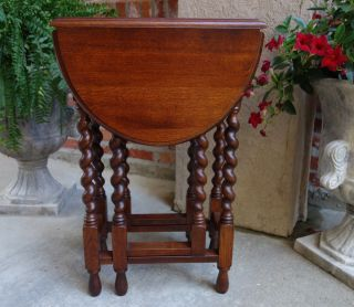 Petite Vintage English Tiger Oak Barley Twist Drop Leaf End Table Sutherland photo