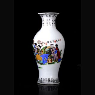 Chinese Colorful Hand - Painted Figure Porcelain Vase W Qianlong Mark photo