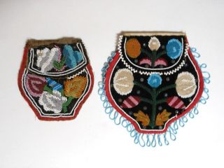 2 Antique American Indian Micmac Beaded Bags,  Multicolored photo