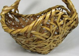 G020: Japanese Tasty Bamboo Knitting Ware Flower Basket With Artist ' S Sign photo