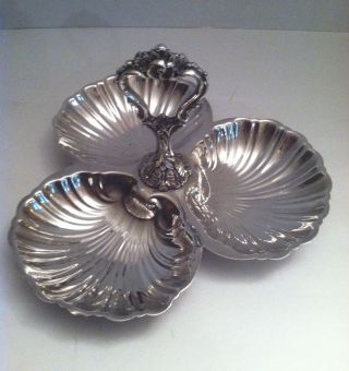 Vtg Silver Plate Triple Clam Shell Serving Dish Tray Scalloped W Handle Label photo