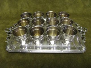 Antique French Sterling Silver (950) Liquor/vodka 12 Goblets Lxvi St & Tray photo