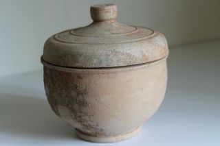 Ancient Greek Pottery Hellenistic Pyxis 3rd Century Bc photo