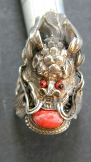 Antique Chinese Silver Dragon Ring photo