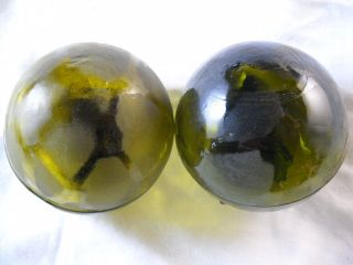 2 Authentic Vintage Amber/brown Glass Fishing Floats photo