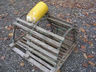 Maine Round Wood Lobster Trap We Ship Pot Wooden Bouy Buoy Crab Shrimp Tiki photo