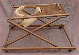 French Wooden Folding Baby Walker Cats Kitten Fish Abacus 1900 photo