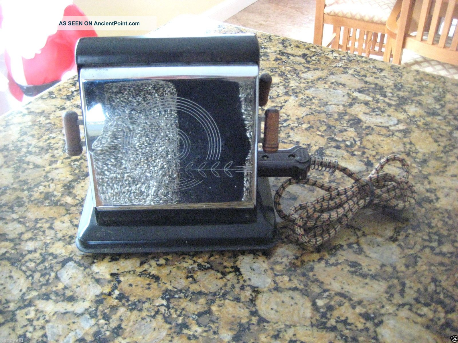 Vintage Toaster Chrome Wood Handle Ominion 1104 Electric - Ohio Made Toasters photo