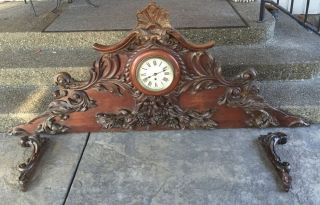 Antique Mahogany Crest With Clock Pediment Cabinet Decorative Mantel Crowd photo