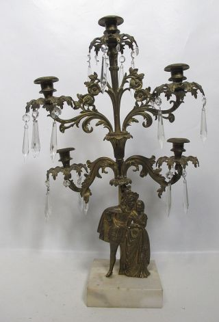 Antique 19th C French Figural Bronze Girandole Candelabra On Marble W Prisms Yqz photo