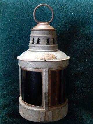 19th Century Helvic ' S Pattern Tin Brass Port/starboard Kerosene Lamp Complete Nr photo