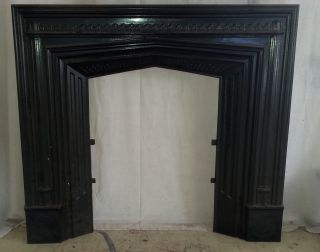 Antique 19th Century Federal Cast Iron Fireplace Front,  Surround,  Insert 38x34