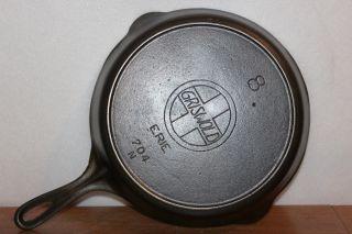 Large Griswold Slant Erie 8 Cast Iron Skillet 704 N Heat Ring photo