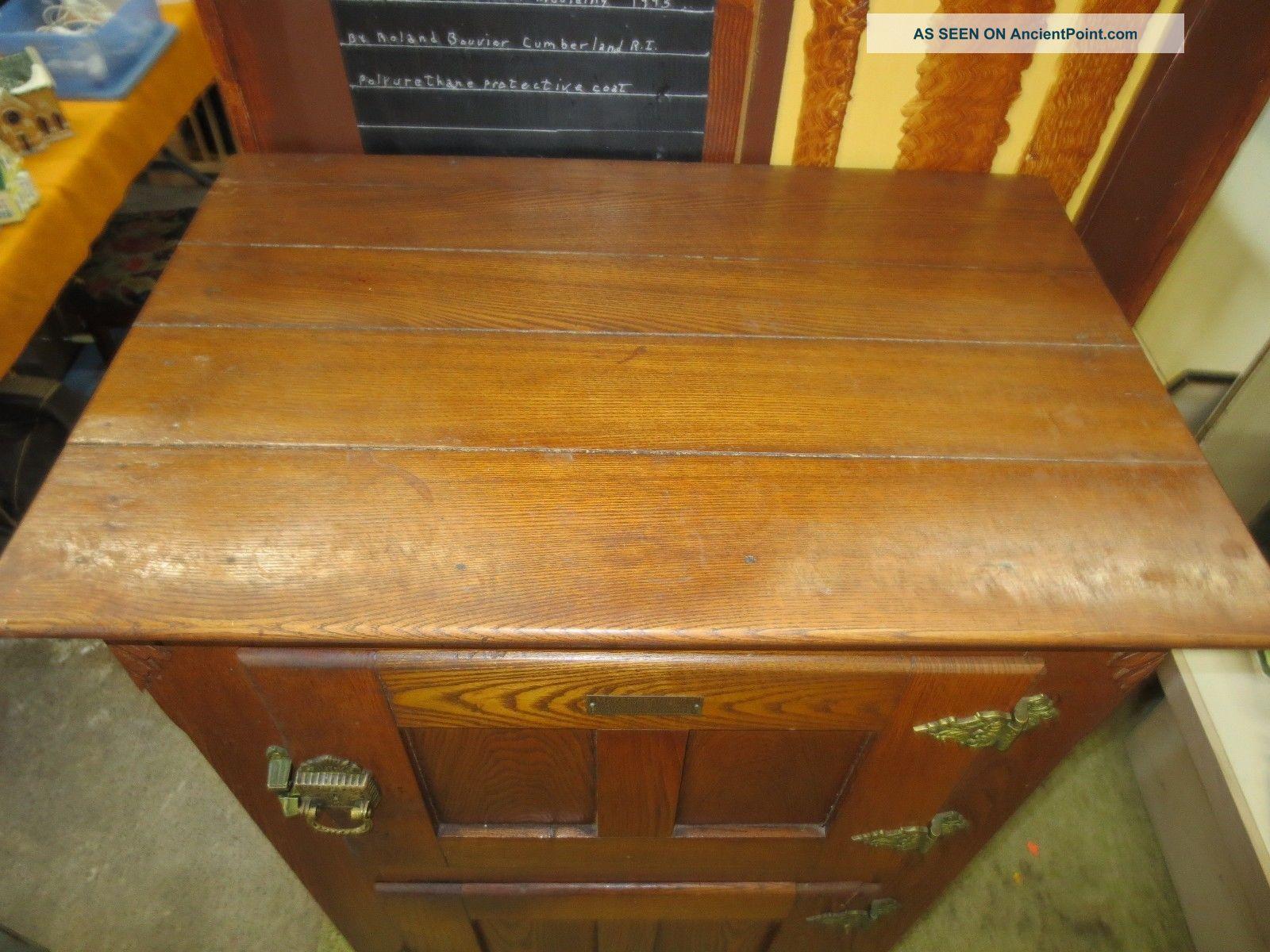 Antique Wood Ice Box Golden Oak Authentic Mckee Refrigerator Company Brooklyn Ny Ice Boxes photo