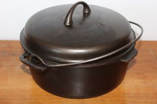 Griswold Circa 1940 Iron Mountain 1036 Dutch Oven & 1037 Basting Cover Cast Iron photo