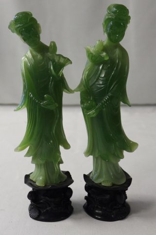 Chinese Carved Jade Green Resin Wise Man & Wise Woman Figurine Sculpture photo