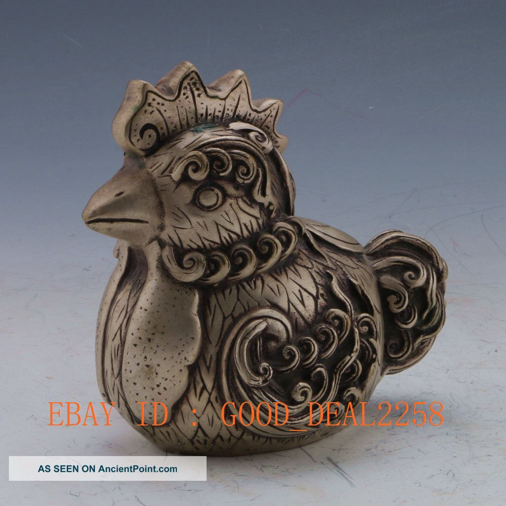 Tibet Silver Copper Handwork Chicken Statue - - 吉祥如意 Buddha photo
