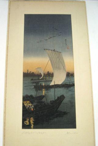Japanese Woodblock Print Sekiyado By Night Takahashi Hiroaki W/seal photo