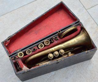 Rare Antique Jerome Thibouville - Lamy Raw Brass French Cornet Year - 1880 ' S photo