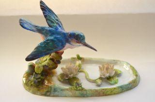 Crown Staffordshire Kingfisher Bird Figurine W/ Lotus Porcelain Jt Jones Cobalt photo