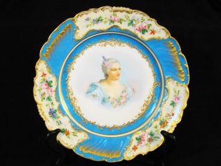 Antique Sevres Chateau Cabinet Porcelain Mme Du Parabere Hand Painted Plate 1844 photo