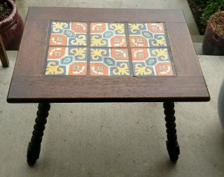 Antique 1920s Hispano Moresque Colorful California Tile Table Spiral Legs Unique photo