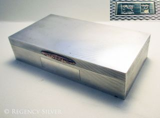 Solid Sterling Silver Rose Gold English Art Deco Cigarette Cigar Case Box photo
