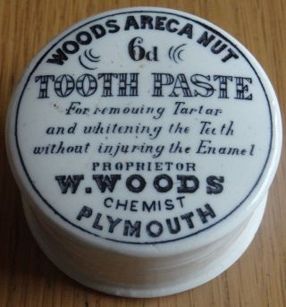 Advertising Printed Tooth Paste Pot Lid & Base.  Woods Areca Nut Chemist Plymouth photo
