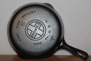 Vintage 1930 ' S Griswold Large Block Logo P/n 699 C Size No.  6 Cast Iron Skillet photo