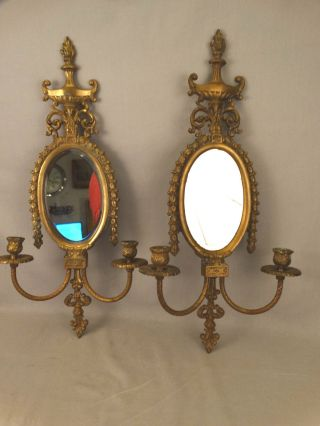 (2) Antique French Hollywood Regency Brass Louis Xvi Old Mirror Wall Sconces photo
