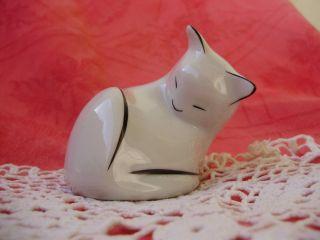 Vintage Hungarian Hollohaza Art Deco Porcelain Cat Handpainted,  Stamped Post photo