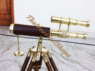 Mini Tripod Telescope Double Barrel Nautical Decorative Collectible Vintage Gift photo