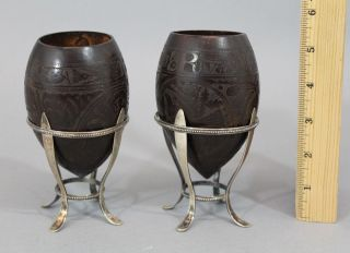 Pr Antique 1889 Sailors Folk Art Carved American Eagle Coconuts & Sterling Bases photo